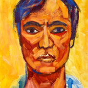 "Self 1990A - mixed media on cardboard - mixed media sur carton 31 x22 cm (12 x 9"") - 1990 - impression"
