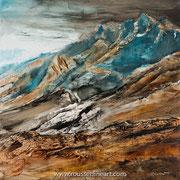 "Promised Land - oil on canvas - huile sur toile 100 x 100 cm - (39 x 39"") - 2017"