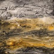 Prehistoric Landscape - acrylic ink on wood - encre sur bois - 40 x 40 cm - 2017