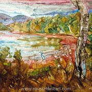 "Acadia #3 - acrylic inks on canvas - encres acryliques sur toile 50 x 65 cm (20 x 26"") - 2005 - impression"