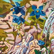 """Columbine - oil on canvas - huile sur toile 65 x 50 cm (26 x 20"""") - 1999 - impression"""