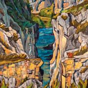 """Broken Bridge #2 - oil on canvas - huile sur toile 153 x 122 cm (60 x 48"""") - 2012 - composition"""