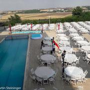 Standplatz im Hof des Hilton Hotel in Diyarbakir