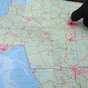 Blick auf die Landkarte