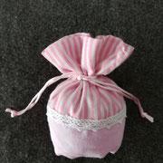 Sacchettino righe rosa