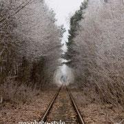 Bahnschien, im Winter