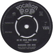 As He Once Was Mine/Go On Vocalion V 9218 1964 side A