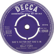 'Give Me Your Word'/'She's So Far Out She's In' Billy Fury Decca F 12459