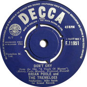 'Twelve Steps to Love'/'Don't Cry' Brian Poole and the Tremeloes Decca F 11951 1964