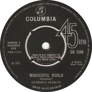 Wonderful World/Dream On Columbia DB 7546 1965