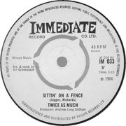 twice-as-much-sittin-on-a-fence-1966 Immediate IM 033