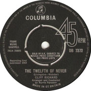 'The Twelfth of Never'/'I'm Afraid to Go Home' Columbia DB 7372 side A