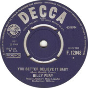 'I'm Lost Without You'/'You Better Believe It' Billy Fury Decca F 12048