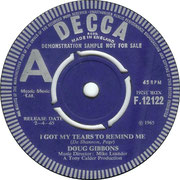I Got My Tears to Remind Me/I Found Out Decca F 12122 1965