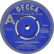 To Whom It Concerns/It's All Up To You Now Decca F 22285 1965