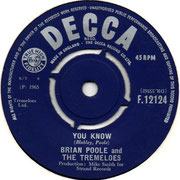 'After a While'/'You Know' Brian Poole and the Tremeloes Decca F 121241965