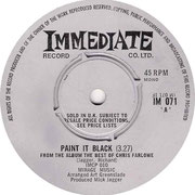 Paint It Black/I Just Need Your Loving Immediate IM 071 1968