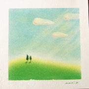 「希望の丘」 重ね塗りで丘と空を表現。型紙を使って雲を描きます。