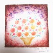 愛情「花瓶の花」周りのうずまき模様もおもしろい表現方法です