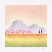 「土手の桜」 見た目よりうんと簡単に描けてびっくり!