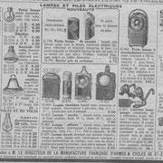 """Extrait du catalogue de la """"manufacture française d'armes et cycles de Saint-Étienne"""" de 1933"""