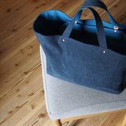 『recta bag』 navy/blue 持ち手通常(ひじ掛)仕様