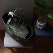 『recta bag』 olive/navy(フタはolive) 持ち手肩掛け仕様 リベット黒仕様