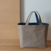 『soft cube bag』 grey-beige/blue 持ち手ひじ掛仕様