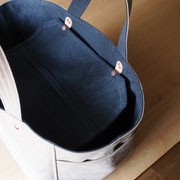 『soft cube bag』 grey-beige/navy 内フタ付仕様