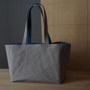 『recta bag』 grey-beige/blue 持ち手肩掛け+2.5㎝(立ち上がり26.5㎝)仕様