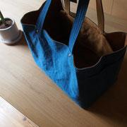 『recta bag』 blue/camel 持ち手肩掛け仕様