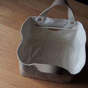 『soft cube bag』 grey-beige/milk