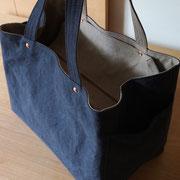 『recta bag』 navy/grey-beige 持ち手肩掛け仕様