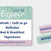 "Konzeption & Gestaltung Alutafel ""Gast-Hof Espoir"""