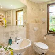 Bad untere Etage mit WC, Waschbecken und Dusche