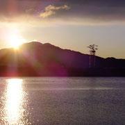 女川に向かう途中で出合った一本松の日の出  (この光景に出会えた幸運 素直に嬉しかったです)