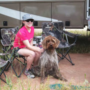 Cota hanging out at the RV with friend Savannah