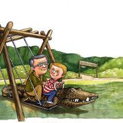 Illustration für Unser Salzlandkreis - Unterwegs mit Tom und Sarah, Birgit Herkula, FBK Sachsen-Anhalt, Salzlandkreis 2014