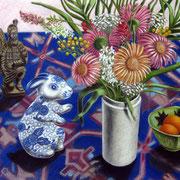 Blumenstrauß auf blauem Teppich 2014 - Pastell auf Papier, 50x65cm