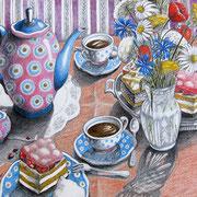 Bunzlauer Kaffeetafel 2009 - Farbstifte auf Papier, 36x48cm (in Privatbesitz)