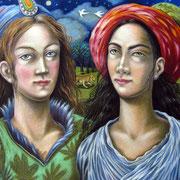 Zwei Mädchen 2011 - Pastell auf Papier, 50x65cm