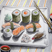 Sushi 2010 - Farbstifte auf Papier, 24x32cm