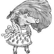 Wildschweinfrau - Vignette für Eulenblumen und Pustespiegel,  Mitteldeutscher Verlag  2009