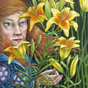 Mädchen mit Lilien 2015-Pastell auf Papier, 50x65cm