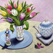 Tulpen und Nippfigur 2015 - Pastell auf Papier, 50x65cm