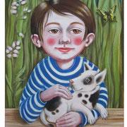 Junge und Hund - Illustration 2007, für Friedrich-Bödecker-Grundschule Laucha