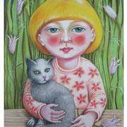 Mädchen mit Katze - Illustration 2007, für Friedrich-Bödecker-Grundschule Laucha