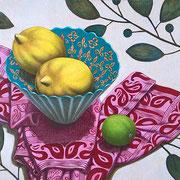 Zitronen und Limette mit türkischer Schale und indischem Tuch 2017 - Öl auf Hartfaser, 30x40cm