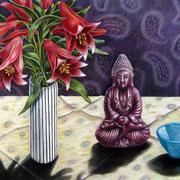 Rote Lilien und Buddha 2012 - Pastell auf Papier, 50x65cm