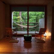べにや無可有 和室 ハンモック 檜の浴槽 中道一成 加賀山代 茶室